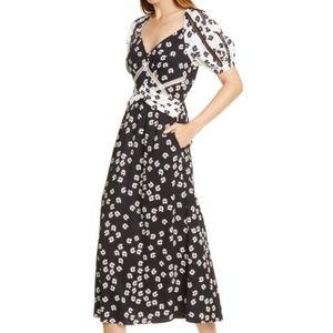 SELF-PORTRAIT Daisy Print Puff Sleeve Midi Dress